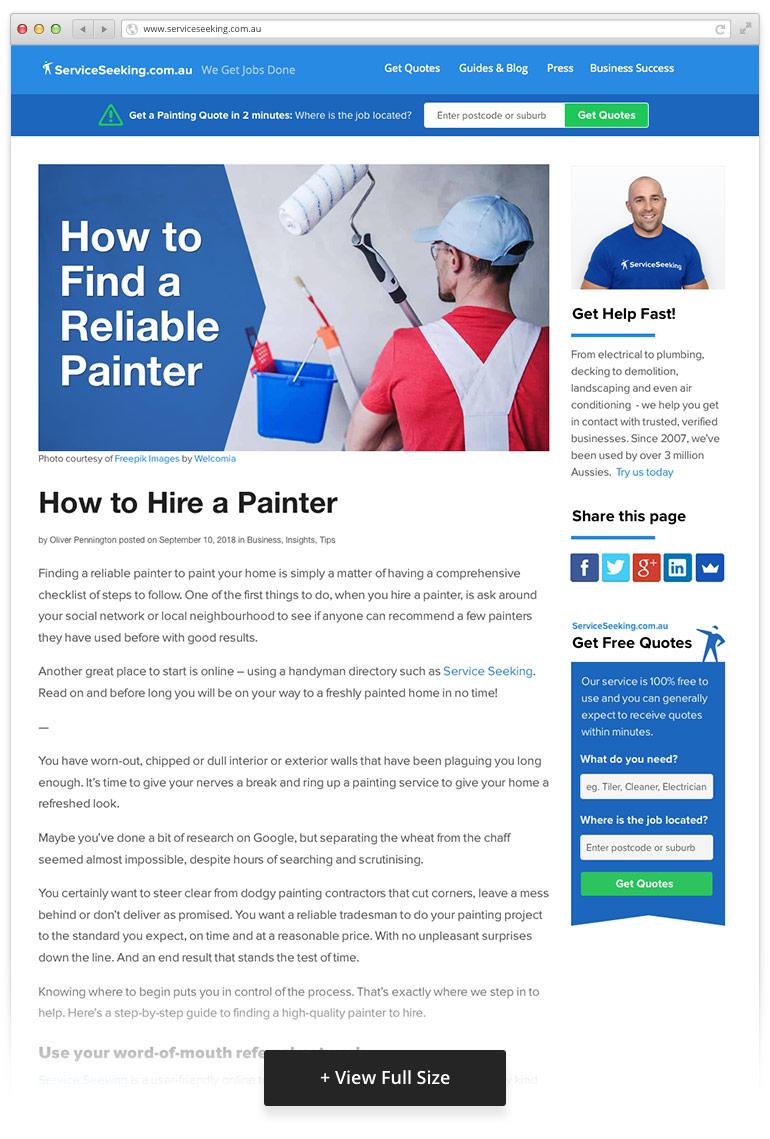 service seeking blog template after redesign
