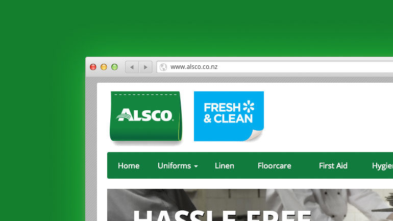 Alsco New Zealand website partial screenshot