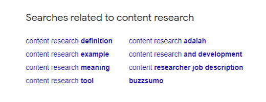 Enrich your content research process with related searches